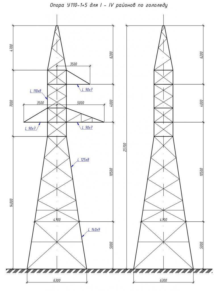 У110-1+5 - анкерно-угловая металлическая опора ВЛ-110кВ