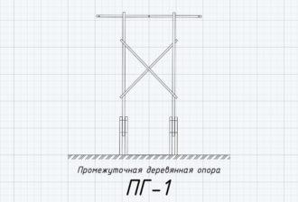 ПГ-1 - деревянная промежуточная опора ВЛ-220кВ