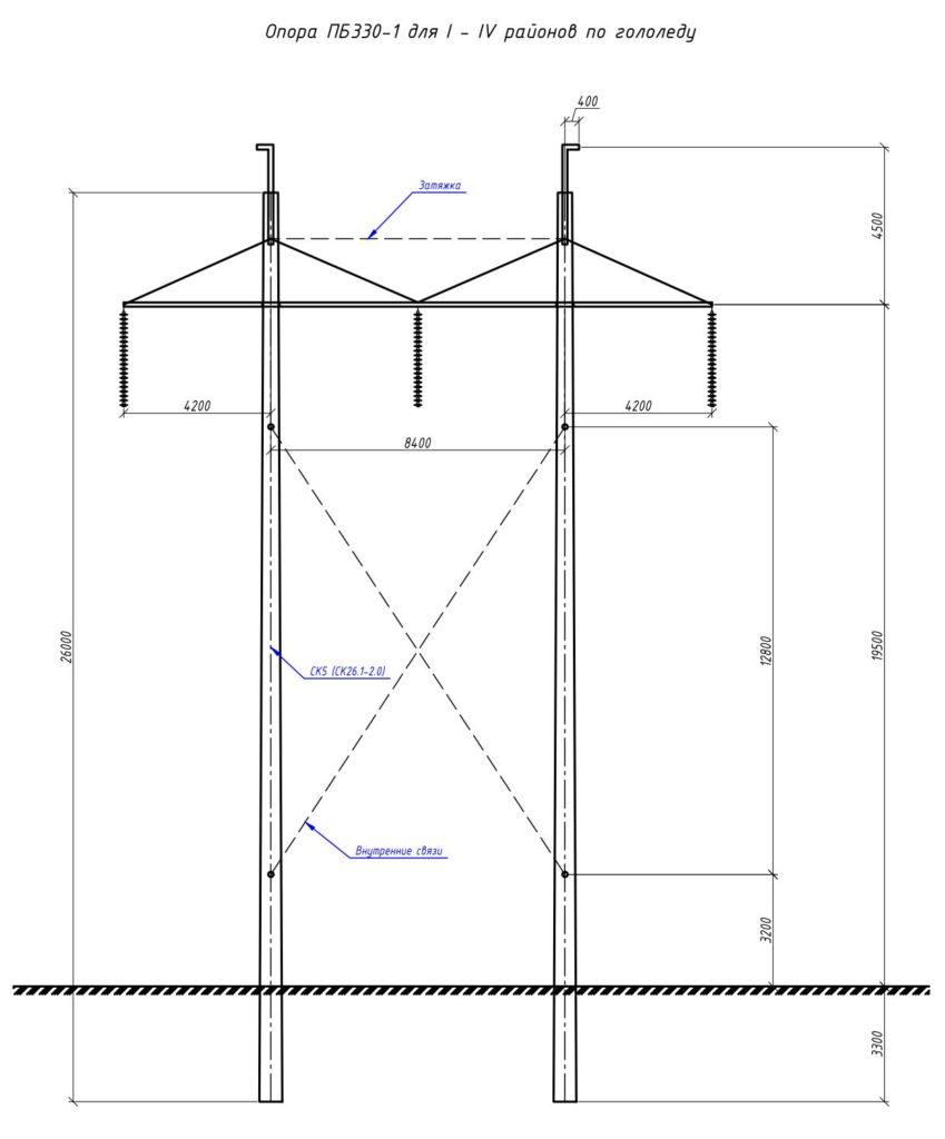 Чертеж опоры ПБ330-1 с размерами