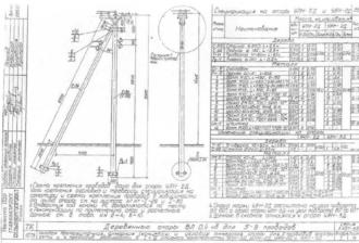 УПН-2Д - угловая промежуточная деревянная опора ВЛ-0.4кВ