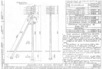 ОАН-1Д - анкерная ответвительная деревянная опора ВЛ-0.4кВ