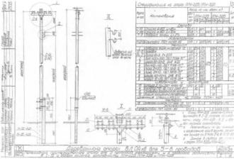 ППН-4ДБ - переходная промежуточная деревянная опора ВЛ-0.4кВ