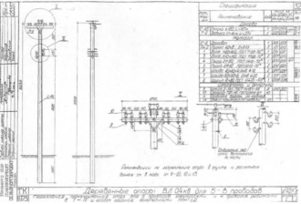 ППН-1Д - переходная промежуточная деревянная опора ВЛ-0.4кВ