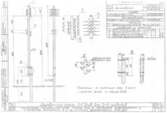 ППН-1ДБ - переходная промежуточная деревянная опора ВЛ-0.4кВ