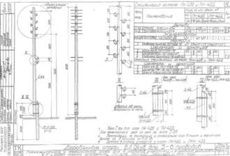 ПН-4ДБ - промежуточная деревянная опора ВЛ-0.4кВ