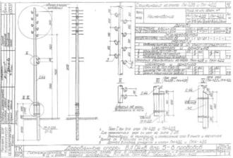 ПН-4ДД - промежуточная деревянная опора ВЛ-0.4кВ