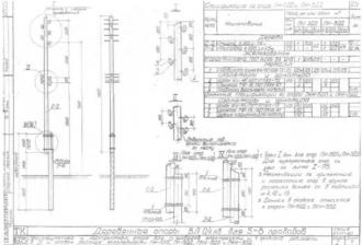 ПКН-3ДД - перекрестная деревянная опора ВЛ-0.4кВ