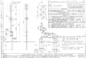 ПН-3ДД - промежуточная деревянная опора ВЛ-0.4кВ