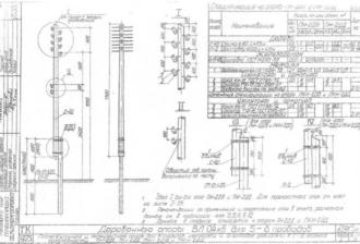 ПН-2ДД - промежуточная деревянная опора ВЛ-0.4кВ
