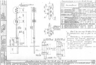 ПН-1ДД - промежуточная деревянная опора ВЛ-0.4кВ