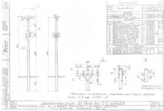 ПН-1Д - промежуточная деревянная опора ВЛ-0.4кВ