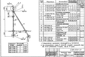 У3Д-5 - угловая анкерная деревянная опора ВЛ-0.4кВ