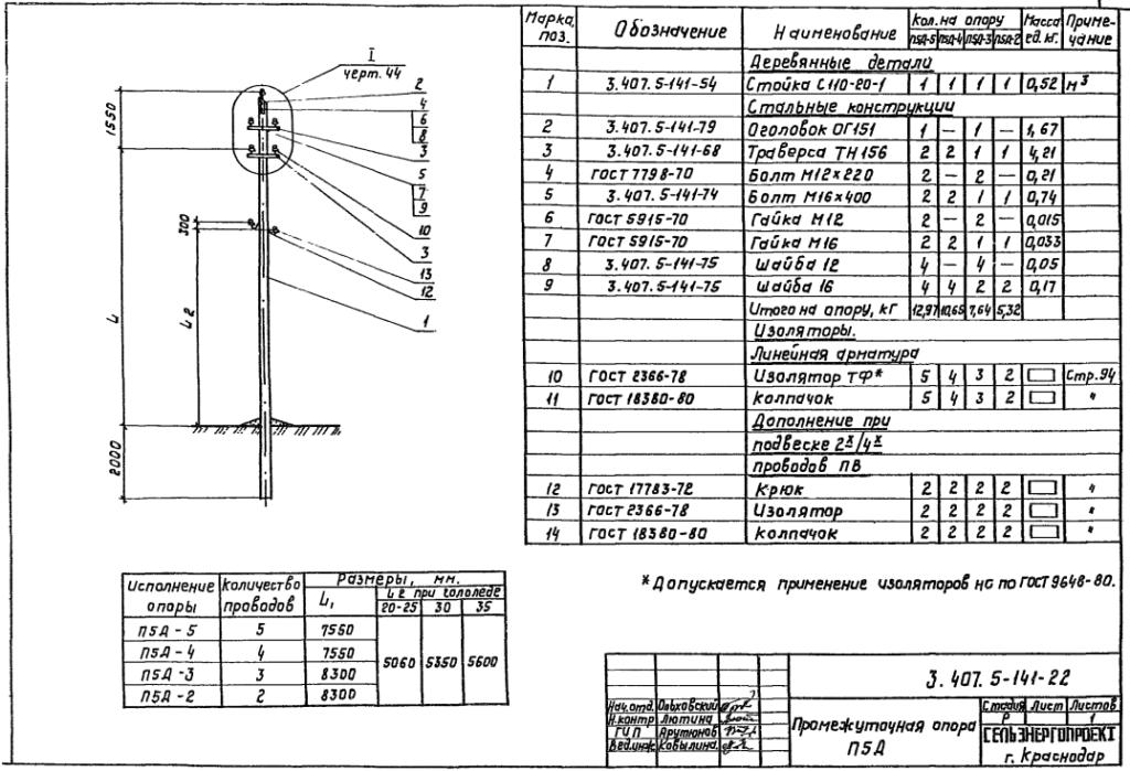 Чертеж опоры П5Д-5