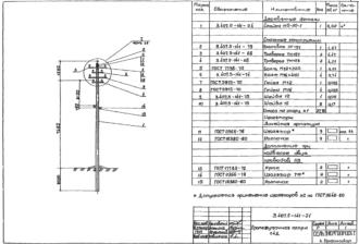 П4Д - промежуточная деревянная опора ВЛ-0.4кВ