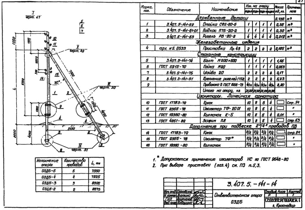 Чертеж опоры О3ДБ-5
