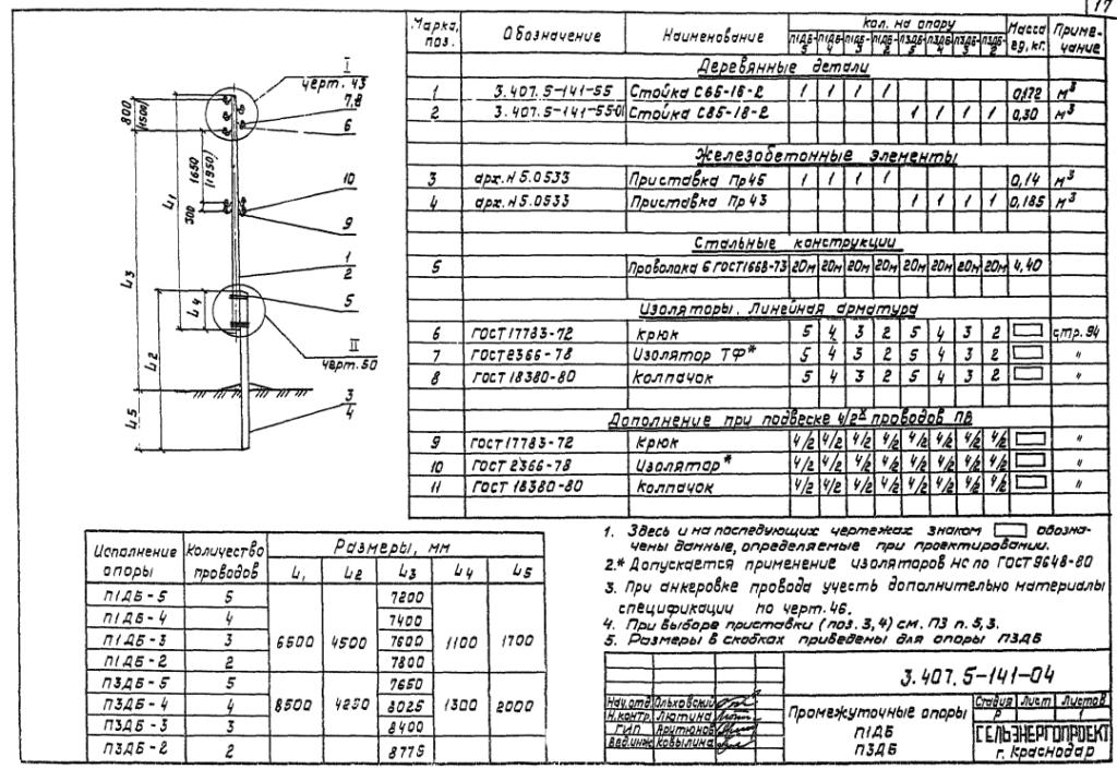 Чертеж опоры П3ДБ-5