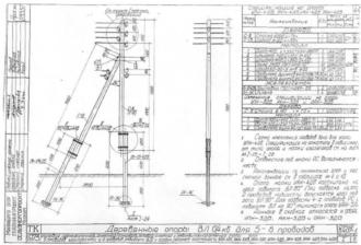 АКН-4ДБ - анкерная (концевая) деревянная опора ВЛ-0.4кВ