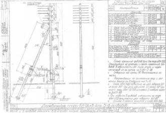 УАН-5ДД - угловая анкерная деревянная опора ВЛ-0.4кВ