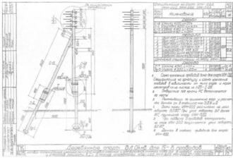 УАН-6ДД - угловая анкерная деревянная опора ВЛ-0.4кВ