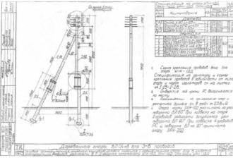 АКН-1ДД - анкерная (концевая) деревянная опора ВЛ-0.4кВ