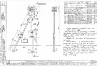 УПН-1ДД - угловая промежуточная деревянная опора ВЛ-0.4кВ