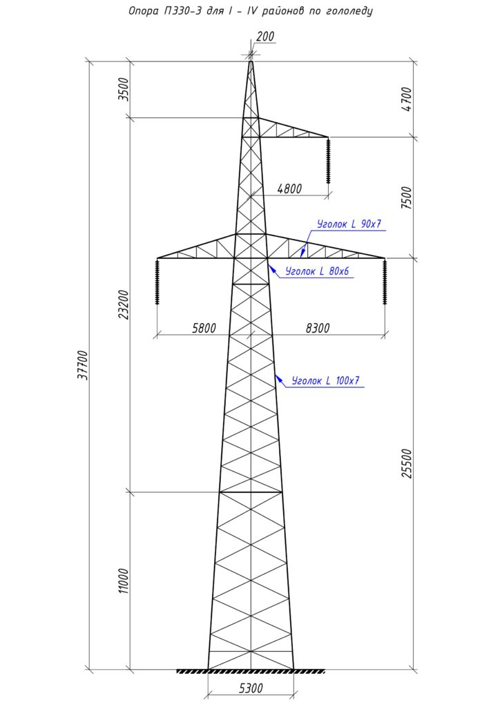 Чертеж опоры П330-3 с размерами