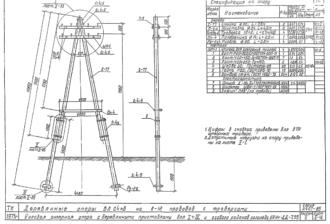 УАНт-ДД7.55 - двухцепная деревянная опора ВЛ-0.4кВ