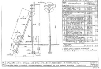 КНт-ДБ7.2 - двухцепная деревянная опора ВЛ-0.4кВ