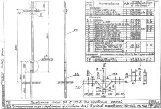П10-10ДД - одноцепная деревянная опора ВЛ-10кВ