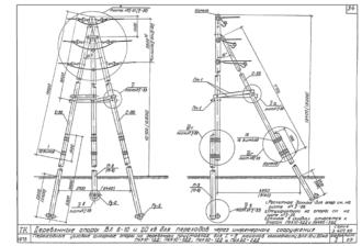 ПУА10-2ДД - одноцепная деревянная опора ВЛ-10кВ