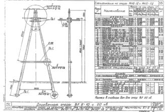 АК20-2Д - одноцепная деревянная опора ВЛ-20кВ