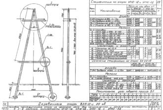 УП20-2Д - одноцепная деревянная опора ВЛ-20кВ
