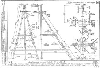 УА10-4ДБ - одноцепная деревянная опора ВЛ-10кВ