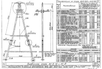 АК10-3ДБ - одноцепная деревянная опора ВЛ-10кВ