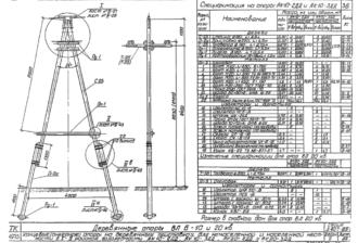АК10-3ДД - одноцепная деревянная опора ВЛ-10кВ