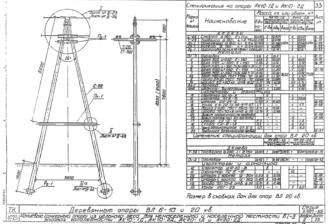 АК10-1Д - одноцепная деревянная опора ВЛ-10кВ