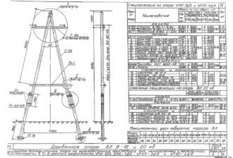 УП10-3ДБ - одноцепная деревянная опора ВЛ-10кВ