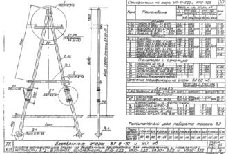 УП10-2ДД - одноцепная деревянная опора ВЛ-10кВ
