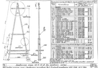 УА10-13ДД - одноцепная деревянная опора ВЛ-10кВ
