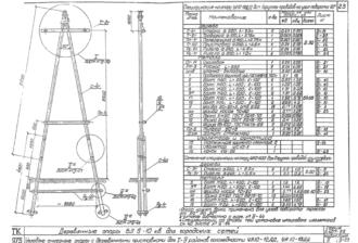 УА10-12ДД - одноцепная деревянная опора ВЛ-10кВ