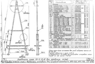 УА10-10ДД - одноцепная деревянная опора ВЛ-10кВ