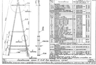 УА10-11ДБ - одноцепная деревянная опора ВЛ-10кВ